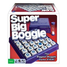 Super Big Boggle Game - This super-sized version of Boggle is fun for the whole family, coming with 36 letter cubes as well as new rule twists such as a double letter cube and a blank cube. This a fresh challenge on an old favorite.