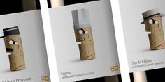 """""""The use of cork gives it the air of something simple, typical of an everyday product. The cap is the element that unifies and personalizes the whole range. The motif designed for each label refers to the country of origin."""" (24 bottle types)"""
