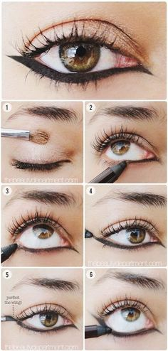 Upside Down Cat Eye Tutorial, maybe add some false lashes so it evens out a bit
