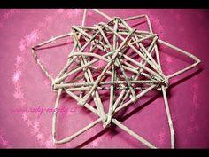 ❄ Hvězda pletená z papírových ruliček - papírový pedig (star woven from ...