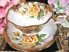 Royal albert tea cup and saucer avon shape yellow roses pattern teacup wide Antique Tea Cups, Vintage Cups, Vintage Dishes, Antique China, Vintage China, Tea Party Setting, China Tea Cups, Tea Sets, Royal Albert