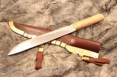 Viking Long Sax KnifeScabbard With Brass Seax Knife by eKnifeshop