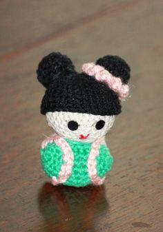Japanese doll amigurumi Japanese Doll, Crochet Hats, Dolls, Handmade, Amigurumi, Knitting Hats, Hand Made, Puppet, Doll