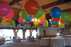 Colorful Balloons on Ceiling Multi- Colored Jumbo Balloons on Ceiling - Hanging Balloons, Jumbo Balloons, Big Balloons, Colourful Balloons, Colorful, Ball Birthday Parties, Birthday Party Decorations, Hang From Ceiling Decor, Balloon Ceiling