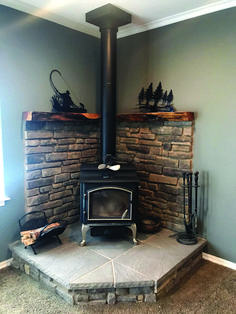 Corner wood stove fireplace with juniper mantel – Farmhouse Fireplace Mantels Wood Stove Surround, Wood Stove Hearth, Fireplace Hearth, Stove Fireplace, Fireplace Remodel, Fireplace Design, Fireplace Ideas, Corner Fireplaces, Fireplace Pictures