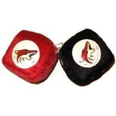 """Phoenix Coyotes Fuzzy Dice by Fremont Die. $8.99. Two Fuzzy Dice connected by a string, 3"""" x 3"""" for each dice, made in Team Colors and Logo. Save 10%!"""