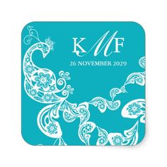 Aqua Floral Paisley White Peacock Wedding Favor Stickers