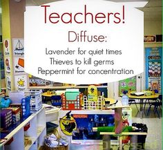 Young Living Essential Oils, diffused in the classroom has so many benefits. Message me for more info. #1905678 Barb Rurak Young Living Distributor.