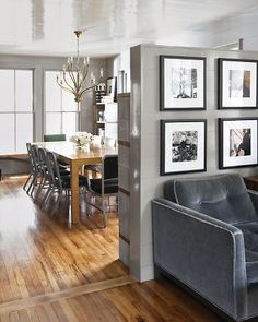 lacquered walls and ceiling in dining room/living room combo