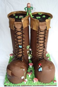 Faeries and Brown Boots Shoes Cake .... more cool pins at  http://www.Pinterest.com/jazevox