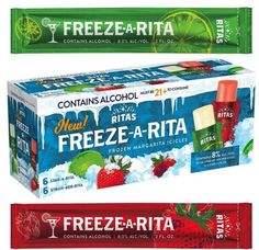 Ritas' brand-new Freeze-A-Rita Frozen Margarita Icicles combine the refreshing aspect of ice pops with the tipsy goodness of a boozy drink. There are Lime-A-Rita and Straw-A-Rita flavors. Frozen Margaritas, Frozen Cocktails, Lime A Rita, Sour Patch Kids, Beverage Packaging, Ice Pops, Frozen Treats, Freeze, Innovation