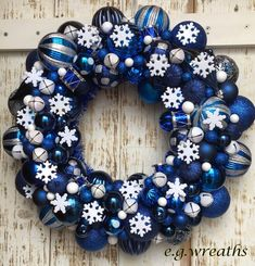 Blue Ornament Wreath - Snowflake Wreath - Winter Wreath - Christmas Ornament Wreath - Holiday Wreath