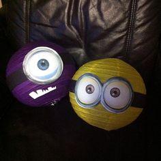 purple and yellow Minion paper lanterns  Despicable Me 2