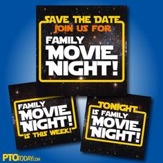 Use these free save the date graphics (post them on any social channel) to promote your Family Movie Night at school!