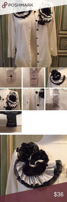 Selling this NWT WHITE HOUSE BLACK MARKET Cardigan Black Floral on Poshmark! My username is: victaggie. #shopmycloset #poshmark #fashion #shopping #style #forsale #White House Black Market #Sweaters