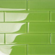 Loft Electric Lime 2x8 Polished Glass Tiles