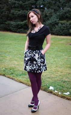 I bought these tights for the sole purpose of matching this awesome purple lip gloss. I'm a bit surprised myself at just how much I Cute Skirt Outfits, Cute Skirts, Hot Outfits, Short Skirts, Colored Tights Outfit, Purple Tights, Pantyhose Outfits, Nylons, Cute Tights
