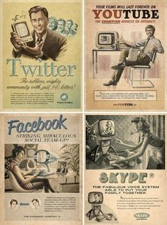 "I love this ""Vintage Social Media"" piece. I always think of how amazed (and overwhelmed) people of 50-60 years ago might think of the world of today. The word ""social"" definitely has a much larger meaning now, that's for sure."