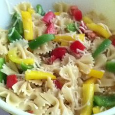 Summer Salad~  3/4 box Bowie pasta,1 yellow pepper, 1 green pepper, 1 tomato, 1 1/2 c shredded mozzarella cheese, bottle of Classic Italian Dressing- cook pasta, drain and rinse with cold water. Set aside. Chop veggies into bite size pieces, add to a large bowl. Drizzle enough dressing onto veggies to coat. Add pasta and cheese. Add more dressing to coat or to your desire.