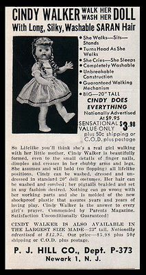 Cindy Walker Doll AD 1955 Photo Illustrated AD Head Turns as She Walks Washable