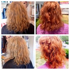 Before (blonde) hair After (copper) hair natural curly