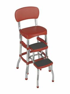 Retro Vintage Step Stool Chair Red--had this in my home growing up and sat on it talking on the phone!  Need this for new house!