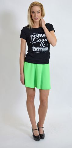 Neon Green, Basic Tee, Fashion Love & Tattoos Tee, www.threeclothing.com