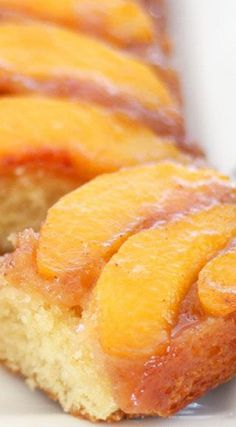 Peach Upside-Down Cake Recipe Peach Upside-Down Cake . I made it in a spring form pan. A lot of the good sugary topping slipped out the side and made a mess of my oven. But it was still super delicious. Just Desserts, Delicious Desserts, Dessert Recipes, Yummy Food, Fruit Dessert, Peach Upside Down Cake, Mini Pineapple Upside Down Cakes, Gateaux Cake, Savoury Cake