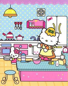 hello kitty, kitchen, and sanrio afbeelding Hello Kitty Backgrounds, Hello Kitty Wallpaper, Kawaii Wallpaper, Iphone Wallpaper, Hello Kitty Characters, Sanrio Characters, Cute Characters, Hello Kitty My Melody, Sanrio Hello Kitty