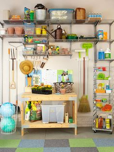 Expect more from your garage -- transform a wall into a haven for all of your gardening gear. Customize your storage with adjustable wire shelves suspended above a potting bench. Use small, clear plastic boxes to keep potting materials dry and organized, and hang long-handled tools from inexpensive clips to keep them out from underfoot.    bhg.com