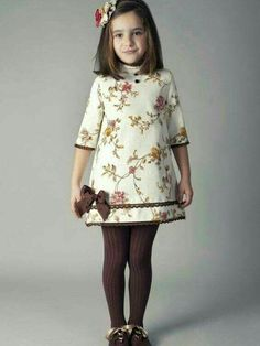 The dress is only so so IMO but the brown tights make it pop! Frocks For Girls, Little Girl Outfits, Little Dresses, Little Girl Dresses, Kids Outfits, Girls Dresses, 50s Dresses, Elegant Dresses, Toddler Dress