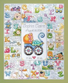 Design Works Baby ABC - Cross Stitch Kit. Cross Stitch Kit featuring a baby birth record. This Cross Stitch Kit comes complete with 14 Count Aida Fabric, 100% C