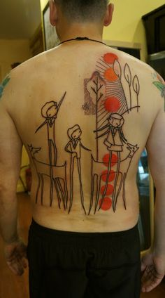 Tattoo by Noon Time Tattoos, Cool Tattoos, Tatoos, Stick Figure Tattoo, Whimsical Tattoos, Modern Art Tattoos, Fantasy Tattoos, Tattoo Graphic, Stick Figures