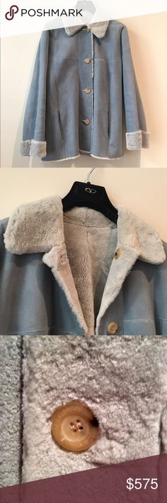 Luxury Designer REVERSIBLE Fur/Suede Coat * AUTH * Genuine fur & leather (suede) reversible coat, from the original high-end MICHAEL KORS Collection luxury label. Features dual slit pockets, a convertible collar & front button closures (buttons sewn back-to-back for reversibility).  DESIGNER VINTAGE.  100% AUTHENTIC.    SIZE:  Small  COLOR:  Blue  EST. RETAIL:  $3,000.00  FABRIC:  Not Listed (leather & fur - most likely Persian lamb fur)  Good Condition  *** For authenticity, see TheRealReal…