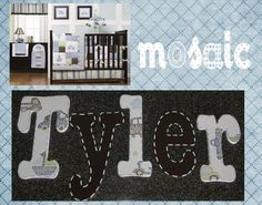 Hand Painted Mosaic Transport Nursery Decor wooden letters   www.funkyletterboutique.com