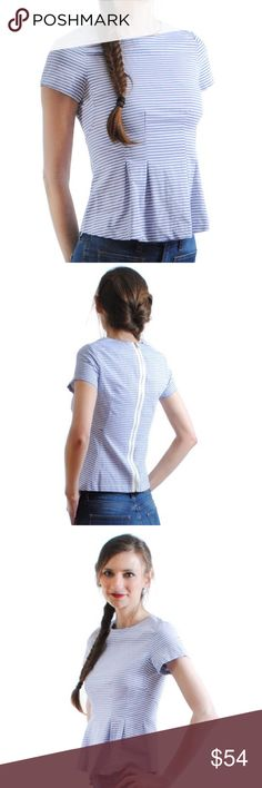 Hannah Top Who says you can't have fun at work? Our gorgeous Hannah Top is the perfect piece to transition from work to happy hour. This short-sleeve top features blue and white thin stripes and pleated front detail. The ribbon zipper back adds a bit of flare! Pair with your favorite cropped pant and a cute heel for the perfect transitional look!  100% Cotton  size + fit: Model is 5ft 9in and wearing a size XS. Top runs true to size and may be tighter around the chest area for those with…