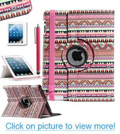 Pandamimi ULAK(TM) Aztec Tribal 360 Degree Rotating Totem Protective Pu Leather stand Case Cover for Apple Ipad 2 3 4 W/Screen Protector/Touch Stylus (Red Aztec)