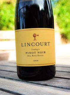 "2010 Lincourt Sta. Rita Hills ""Lindsay's"" Pinot Noir Santa Barbara County, In Vino Veritas, Pinot Noir, Wine Recipes, Wines, Bottle, Food, Flask, Essen"