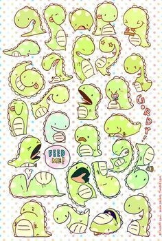 Gordy the Dinosaur Stickers by Kaiami - $5 http://kaiami.storenvy.com/products/511397-gordy-the-dinosaur-sticker-sheet: