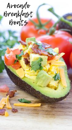Avocado Breakfast Boats are a beautiful yet quick meal made with fresh avocado, scrambled eggs, crispy pieces of bacon, diced tomato and Sargento Shreds® Reserve Series™ 18 month aged Cheddar Soup Recipes, Keto Recipes, Vegetarian Recipes, Healthy Recipes, Recipes Dinner, Potato Recipes, Lunch Recipes, Casserole Recipes, Pasta Recipes