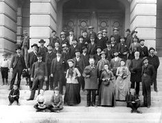 Members of the Wyoming Constitutional Convention on the steps of the state capitol building, 1889. Photo from the Wyoming State Archives.