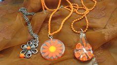 Lot of Orange Pendant Necklaces (Three Total)