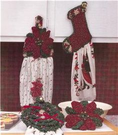 Free Dish Towel Topper Patterns | Christmas Kitchen Set Towel Toppers and More Crochet Pattern