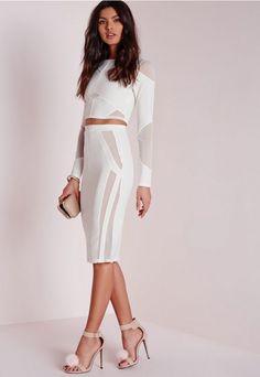 8b5b3dcc5108 Skirts - Shop Women s Skirts Online. Mesh Panel Midi Skirt White ...