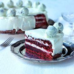 Red Velvet Cake Cake Recept, Red Velvet, Velvet Cake, Danish Food, Swedish Recipes, Food Cakes, Desert Recipes, Afternoon Tea, Vanilla Cake