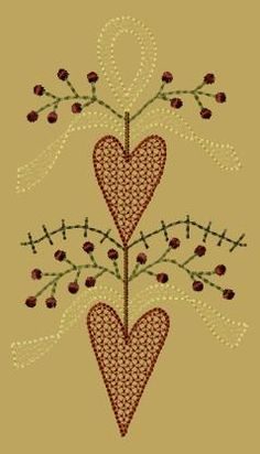 PK053 Heart Swag - 5x7 - $8.00 : Primitive Keepers, Prim Machine Embroidery Designs