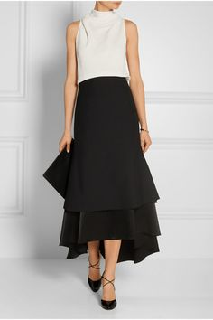 Ellery Suzie wool and satin midi skirt and The Row Piona stretch-cady top