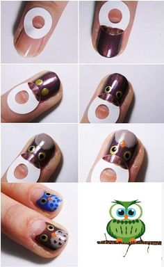 DIY owl nail art DIY Nails Art. Replace the unpainted section with white/off white and it would look much better.