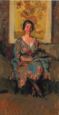 The Athenaeum - Woman with Van Gogh's Sunflowers (1917 - 1918) (Isaac Israels - )