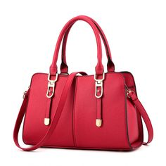 Newest Design Female Bags Elegant Concise Sweet Fashion Lady Tote Handbags Solid Color Wine Red Crossbody Bag